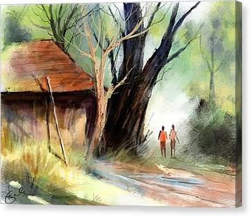 Kiran Kumar Canvas Print - Village by Kiran Kumar