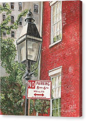 Village Lamplight Canvas Print by Debbie DeWitt