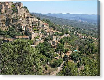 Village On A Hillside Canvas Print by Sandra Anderson