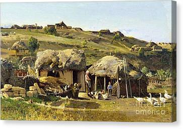 Village On River Don Canvas Print by Pg Reproductions