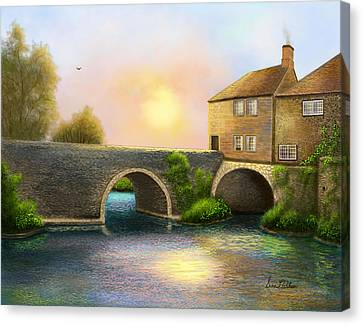 Village On The River Canvas Print