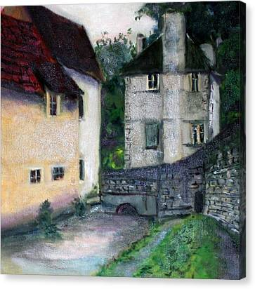 Canvas Print featuring the painting Village Scene by Rosemarie Hakim