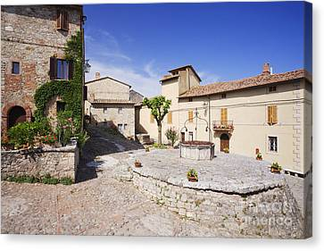 Village Square And Well At Rocca Dorcia Canvas Print