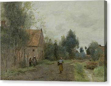 Village Street In The Morning Canvas Print by Jean Baptiste Camille Corot