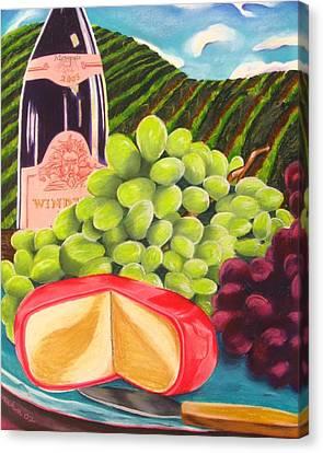 Still Life Of Wine And Grapes Canvas Print - Vineyard Still Life by Michelle Hayden-Marsan