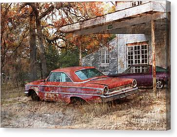 Vintage 1950 1960 Ford Galaxy Red Car Photo Canvas Print by Svetlana Novikova