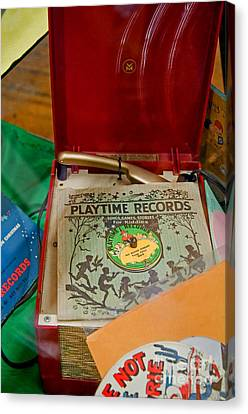 Vintage 45 Record Player And Record Albums Canvas Print by Valerie Garner