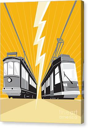 Vintage And Modern Streetcar Tram Train Canvas Print by Aloysius Patrimonio