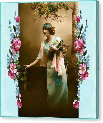 Vintage Aqua Canvas Print by Mary Morawska