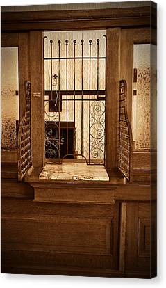 Canvas Print featuring the photograph Vintage Bank Teller Station by Valerie Garner