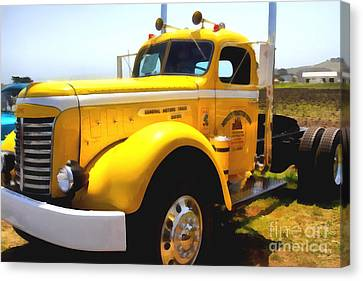 Vintage Big Rig . 7d15483 Canvas Print by Wingsdomain Art and Photography