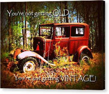 Vintage Birthday Greeting Canvas Print by Cindy Wright