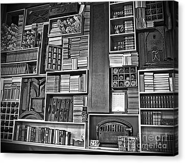 Canvas Print featuring the photograph Vintage Bookcase Art Prints by Valerie Garner