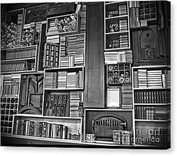 Vintage Bookcase Art Prints Canvas Print by Valerie Garner