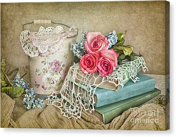 Vintage Books And Roses Canvas Print by Cheryl Davis