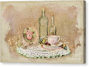Vintage Bottles And Teacup Still-life Canvas Print by Cheryl Davis