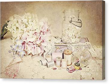 Canvas Print featuring the photograph Vintage Buttons And Thread by Cheryl Davis