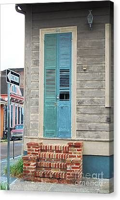 Vintage Dual Color Wooden Door And Brick Stoop French Quarter New Orleans Accented Edges Digital Art Canvas Print by Shawn O'Brien