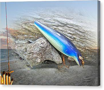 Vintage Fishing Lure - Floyd Roman Nike Blue And White Canvas Print by Mother Nature