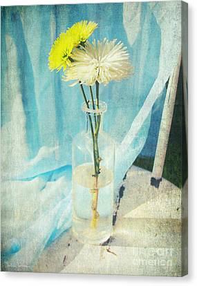 Vintage Flowers In A Bottle Vase Sunny Still Life Print Canvas Print by Svetlana Novikova
