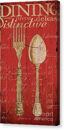 Vintage Kitchen  Utensils In Red Canvas Print by Grace Pullen