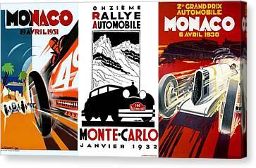 Vintage Monte Carlo Racing Posters Canvas Print by Don Struke