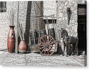 Canvas Print featuring the photograph Vintage Museum Display by Lawrence Burry