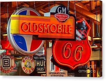Vintage Neon Sign Oldsmobile Canvas Print by Bob Christopher