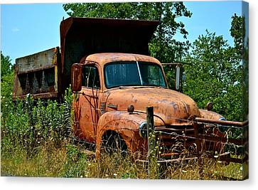 Canvas Print featuring the photograph Vintage Old Time Truck by Peggy Franz