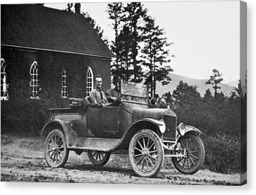 Vintage Photo Of Men In Truck Canvas Print by Susan Leggett