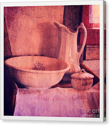 Old Pitcher Canvas Print - Vintage Pitcher And Wash Basin by Jill Battaglia