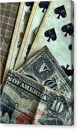 Vintage Playing Cards And Cash Canvas Print by Jill Battaglia
