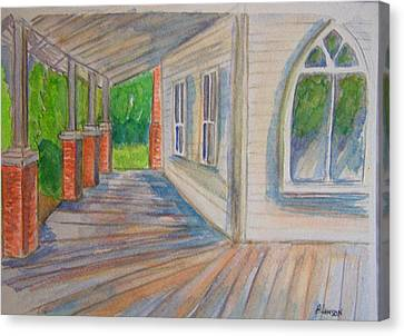 Vintage Porch With Gothic Window Canvas Print by Belinda Lawson