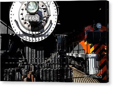 Vintage Railroad Locomotive Trains In The Train House . 7d11633 Canvas Print by Wingsdomain Art and Photography
