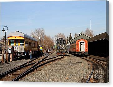 Vintage Railroad Trains In Old Sacramento California . 7d11513 Canvas Print by Wingsdomain Art and Photography