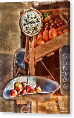 Vintage Scale At Fruitstand Canvas Print by Jill Battaglia