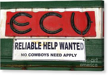 Vintage Sign For Cowboys Canvas Print by Bob Christopher