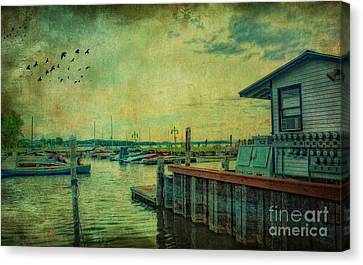 Vintage Vermont Harbor Canvas Print by Gina Cormier