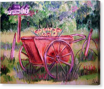 Vintage Wheel Barrow Canvas Print by Belinda Lawson