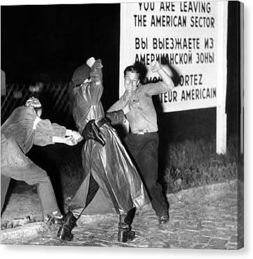 Violent Clash Between An East German Canvas Print by Everett