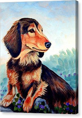 Violets - Dachshund Canvas Print by Lyn Cook