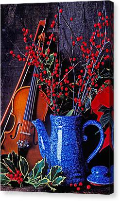 Violin With Blue Pot Canvas Print by Garry Gay