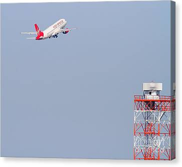 Virgin America Airlines Jet Airplane At San Francisco International Airport Sfo . 7d11915 Canvas Print