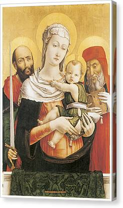 Virgin And Child With Saints Paul And Jerome Canvas Print by Bartolomeo Vivarini