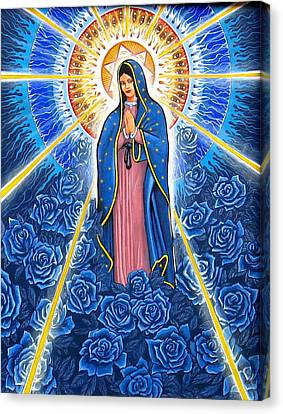 Virgin Of The Blue Roses Canvas Print by James Roderick
