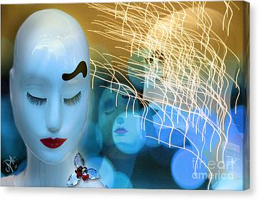 Canvas Print featuring the digital art Virginal Shyness by Rosa Cobos