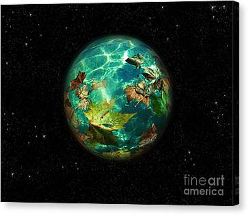Canvas Print featuring the digital art Viriditas World by Rosa Cobos