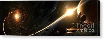 Vision Of A Black Hole Destroying A Sun Canvas Print