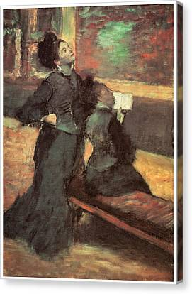 Visit To A Museum Canvas Print by Edgar Degas