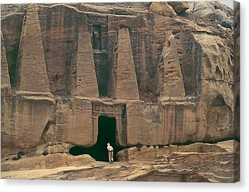 Visitor At The Obelisk Tomb, Built Canvas Print by Gordon Wiltsie